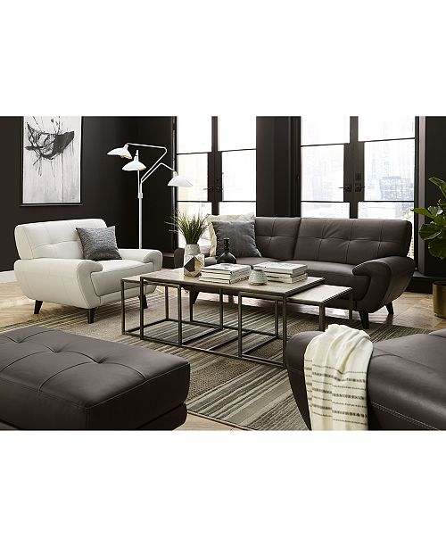 "Macys Furniture Showroom: Furniture Lanz 83"" Leather Sofa, Created For Macy's"