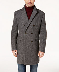 Lauren Ralph Lauren Men's Classic-Fit Lawrenceville Gray Herringbone Double Breasted Overcoat