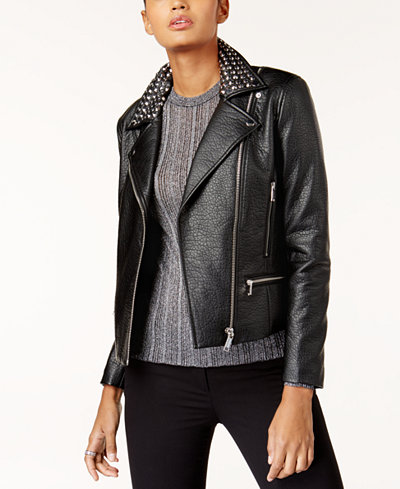 MICHAEL Michael Kors Studded Faux-Leather Moto Jacket