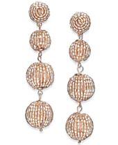 I.N.C. Rose Gold-Tone Beaded Orb Linear Drop Earrings, Created for Macy's