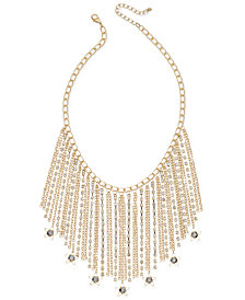 I.N.C. Gold-Tone Hematite Stone Fringe Statement Necklace, Created for Macy's