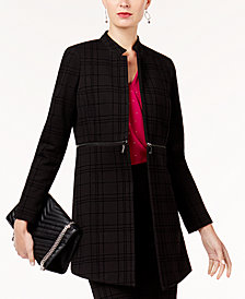 Alfani Plaid Topper Jacket, Created for Macy's