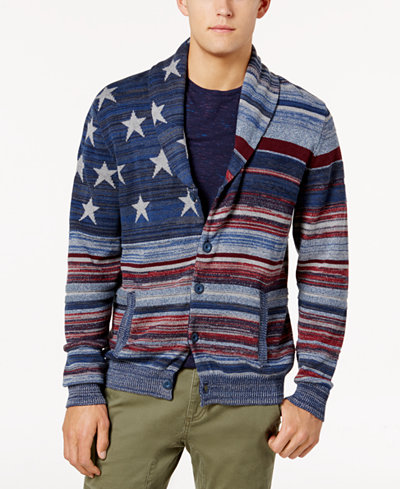 American Rag Men's Stars and Stripes Cardigan Sweater, Created for Macy's