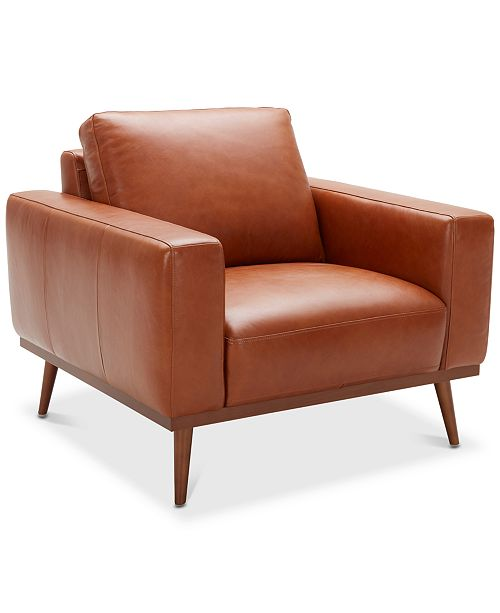 "Macys Furniture Showroom: Furniture Marsilla 39"" Leather Armchair, Created For Macy"