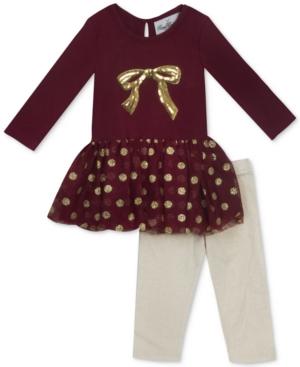 Rare Editions 2Pc Bow Tutu Tunic  Leggings Set Baby Girls (024 months)