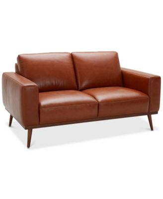 """Marsilla 63"""" Leather Loveseat, Created for Macy's"""