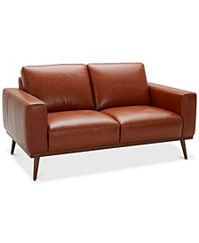 """CLOSEOUT! Marsilla 63"""" Leather Loveseat, Created for Macy's"""