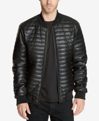 guess men s quilted faux leather bomber jacket coats jackets rh macys com