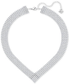 Swarovski Silver-Tone Crystal Mesh Statement Necklace