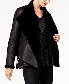Alfani Petite Faux-Shearling-Lined Moto Jacket, Created for Macy's