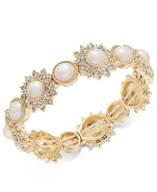 Gold-Tone Imitation Pearl & Crystal Stretch Bracelet, Created for Macy's