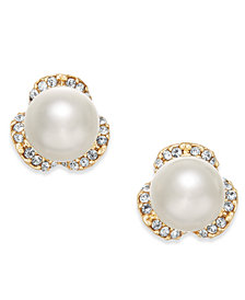 Charter Club Gold-Tone Imitation Pearl & Pavé Stud Earrings, Created for Macy's