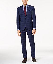 Nick Graham Men's Slim-Fit Stretch Dark Blue Large Glen Plaid Suit