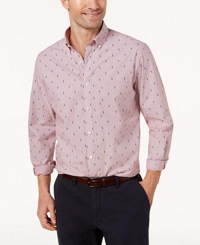 Club Room Men's Pinstriped Tree-Print Shirt, Created for Macy's