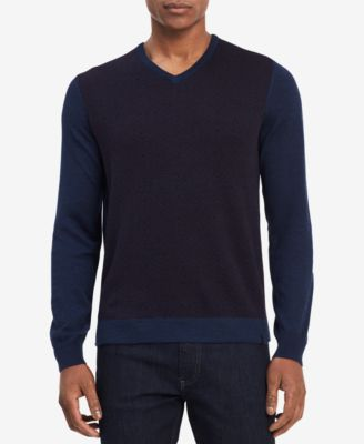 Calvin Klein Men\u0027s Geo,Pattern Merino Wool Sweater