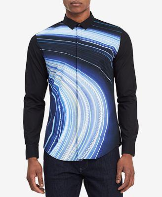 Calvin Klein Men's Light Blur-Print Shirt, Created for Macy's