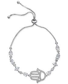 Joan Boyce Silver-Tone Crystal Hamsa Slider Bracelet