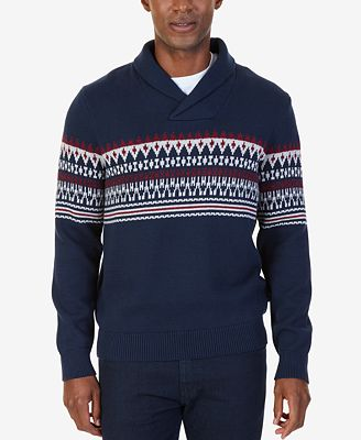 Nautica Men's Fair Isle Shawl-Collar Sweater - Sweaters - Men - Macy's