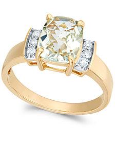 Green Quartz (1-7/8 ct. t.w.) & Diamond (1/8 ct. t.w.) Ring in 14k Gold