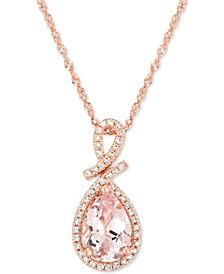 Morganite (1 ct. t.w.) & Diamond (1/8 ct. t.w.) Pendant Necklace in 14k Rose Gold