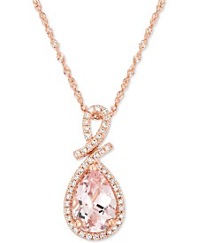 Morganite (1 ct. t.w.) & Diamond (1/8 ct. t.w.) Pendant Necklace in 14k Rose Gold