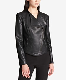 DKNY Faux-Leather Moto Jacket