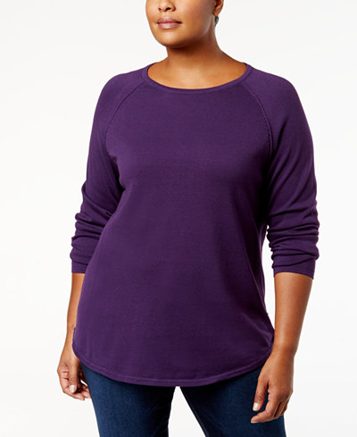 Karen Scott Plus Size Curved-Hem Cotton Sweater, Created for ...