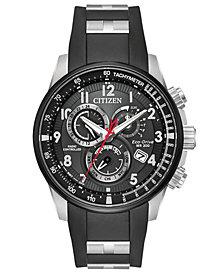 Citizen Eco-Drive Men's Chronograph Promaster Chrono-AT Black Polyurethane & Stainless Steel Combination Bracelet/Strap Watch 44mm