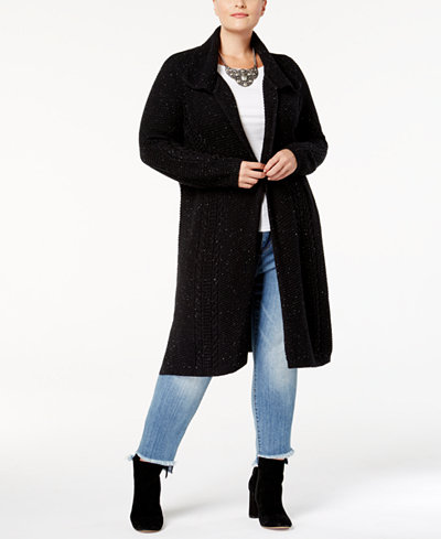 Style & Co Plus Size Cable-Knit Open-Front Duster Cardigan ...