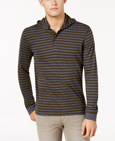 Bar III Men's Cotton Striped Henley Hoodie, Created for Macy's