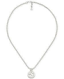 Gucci Women's Logo Pendant Necklace in Sterling Silver YBB47921900100U