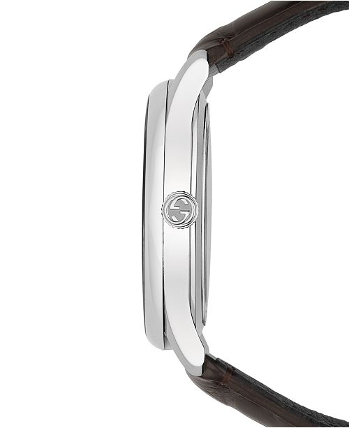 ee75c4c5ed7 ... Gucci Men s Swiss Automatic G-Timeless Dark Brown Alligator Leather  Strap Watch ...