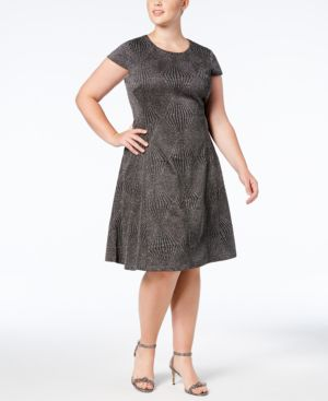 Image of Alfani Plus Size Metallic Fit & Flare Dress, Created for Macy's