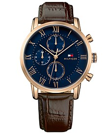 Men's Chronograph Dark Brown Leather Strap Watch 44mm