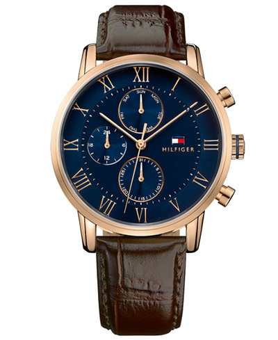 tommy hilfiger men 39 s chronograph dark brown leather strap