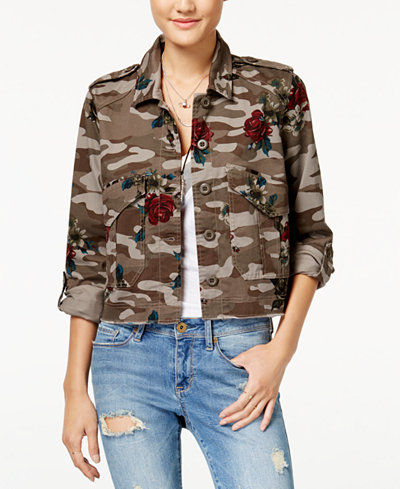 American Rag Juniors' Cropped Camo-Print Cargo Jacket, Created for Macy's