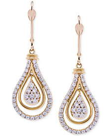 Wrapped in Love™ Diamond Teardrop Orbital Drop Earrings (1 ct. t.w.) in 14k Gold, Created for Macy's