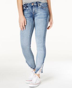 Rampage Juniors' Sophie Lace-Inset Skinny Jeans 5056914