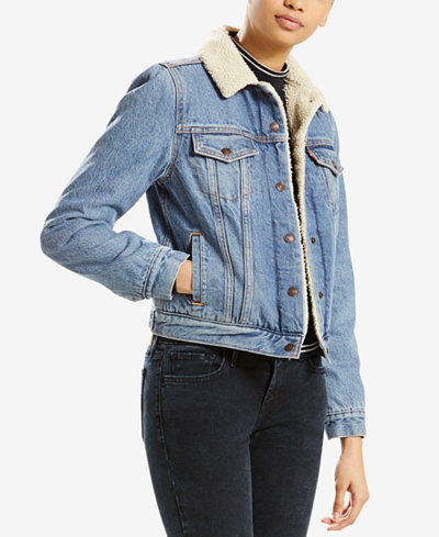 Levi's® Sherpa-Collar Denim Jacket - Jackets - Women - Macy's