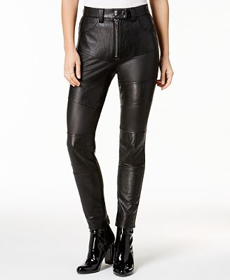 TWIIN Faux-Leather Stretch Moto Pants