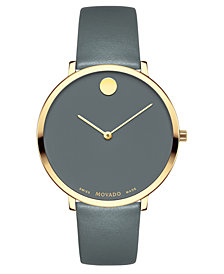 Movado Women's Swiss Museum Dial 70th Anniversary Gray Leather Strap Watch 35mm - a Special Edition