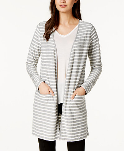 Maison Jules Scalloped Knit Duster Cardigan, Created for Macy's ...