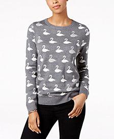 Charter Club Petite Swan-Print Sweater, Created for Macy's