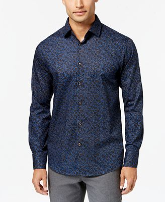 Tallia Men's Slim-Fit Dark Blue Paisley Dress Shirt - Dress Shirts ...