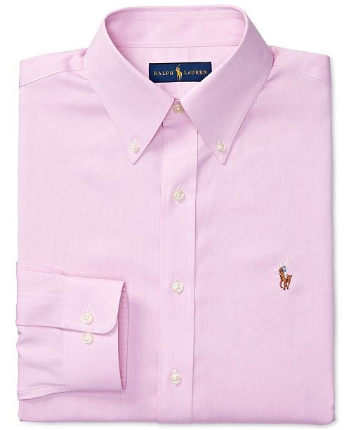 ca769586829 Polo Ralph Lauren Men s Classic Regular Fit Easy Care Non-Iron Oxford Pink  Solid