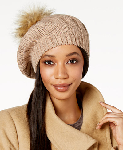 Charter Club Cable Knit Pom-Pom Beret, Created for Macy's