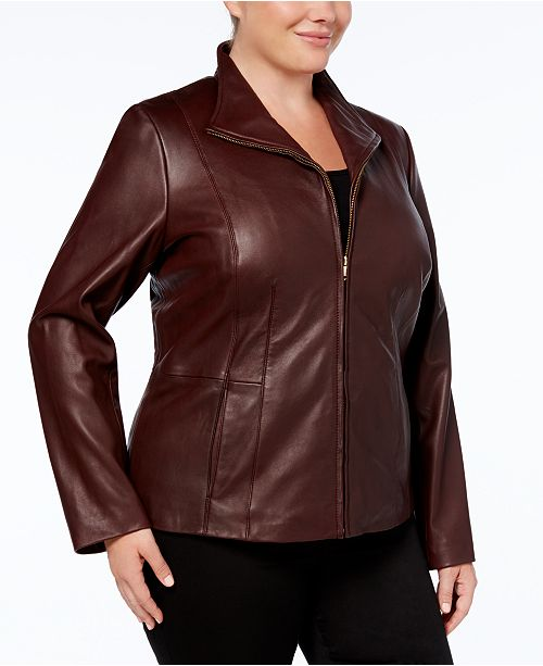 d8290da7fddf0 Cole Haan Plus Size Leather Jacket   Reviews - Coats - Women - Macy s