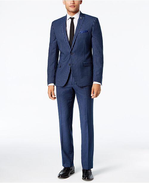 Nick Graham Men's Slim-Fit Stretch Blue Chalk Stripe Suit