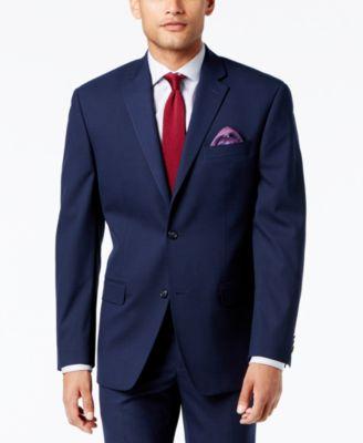 Men's Classic-Fit Stretch High Blue Glen Plaid Suit Jacket