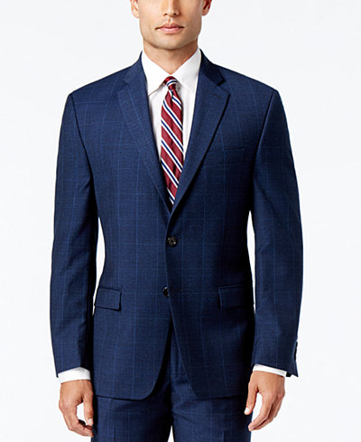 Lauren Ralph Lauren Men's Classic-Fit Ultraflex Navy Plaid Suit ...